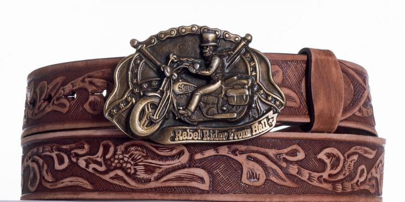 Kožené opasky - Hnědý kožený pásek Motorkář vzb.