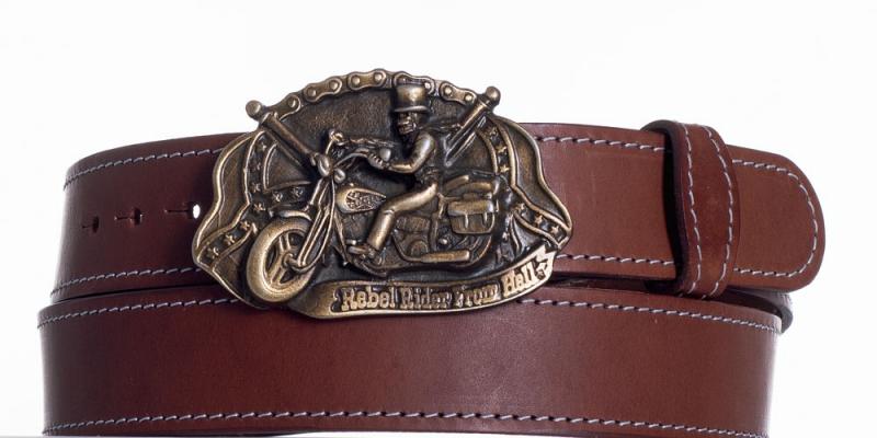Kožené opasky - Hnědý kožený pásek Motorkář ob