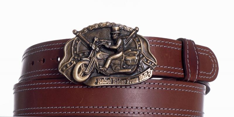 Kožené opasky - Hnědý kožený pásek Motorkář ob2