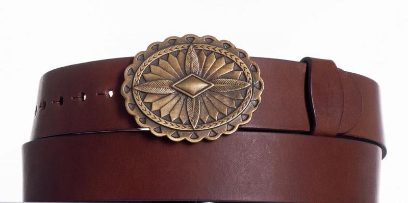 Kožené opasky - Kožený opasek hnědý Ovál