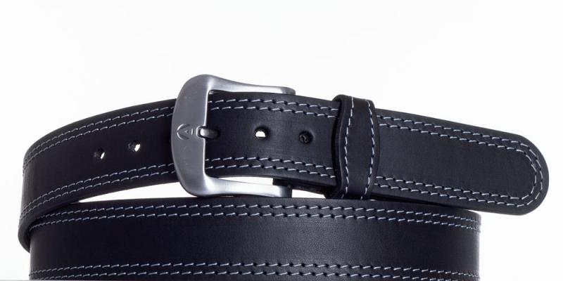 Kožené opasky - Kožený opasek černý 2052 2x obšitý