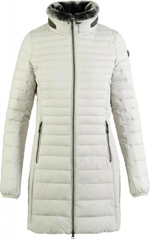 Dámská móda - Dámský kabát s límcem z umělé kožešiny 200 cementová