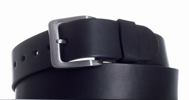 Kožené opasky - Opasek kožený černý 18 vroubek