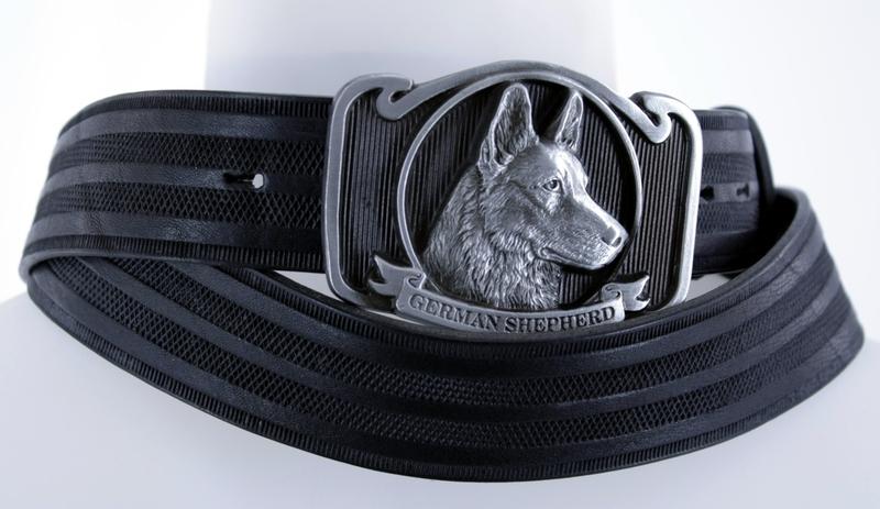 Kožené opasky - Kožený pásek ovčák proužek