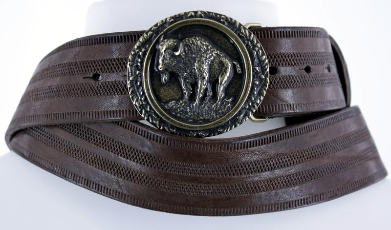 Kožené opasky - Pásek bizon proužek