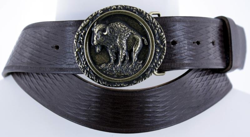 Kožené opasky - Pásek bizon vroubek