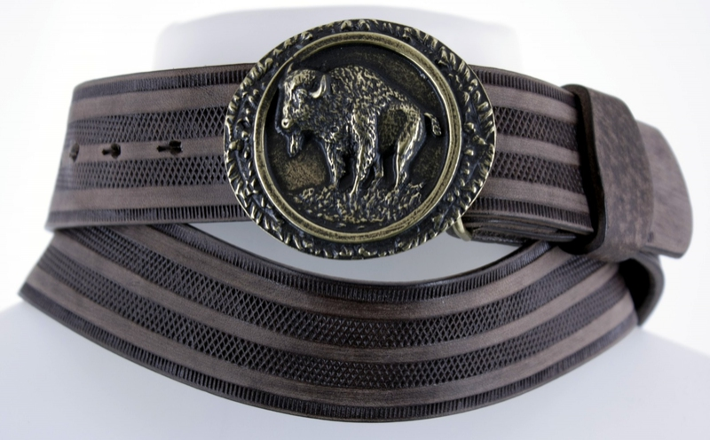 Kožené opasky - Pásek bizon proužek br.