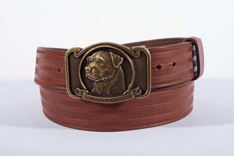 Kožené opasky - Pásek kožený rottweiler řádek