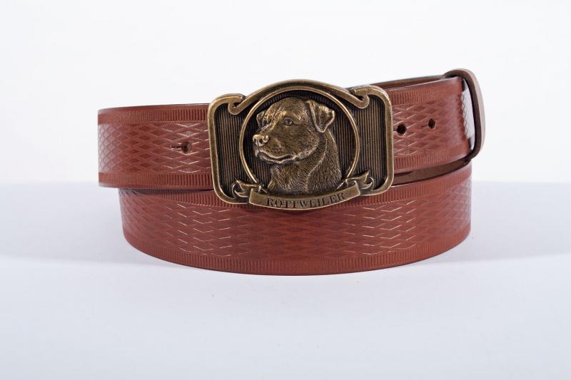 Kožené opasky - Pásek kožený rottweiler vroubek
