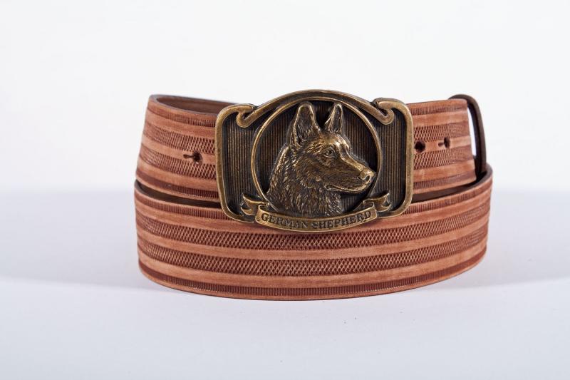 Kožené opasky - Pásek ovčák proužek br.