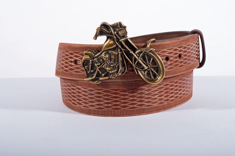 Kožené opasky - Pásek kožený moto vroubek br