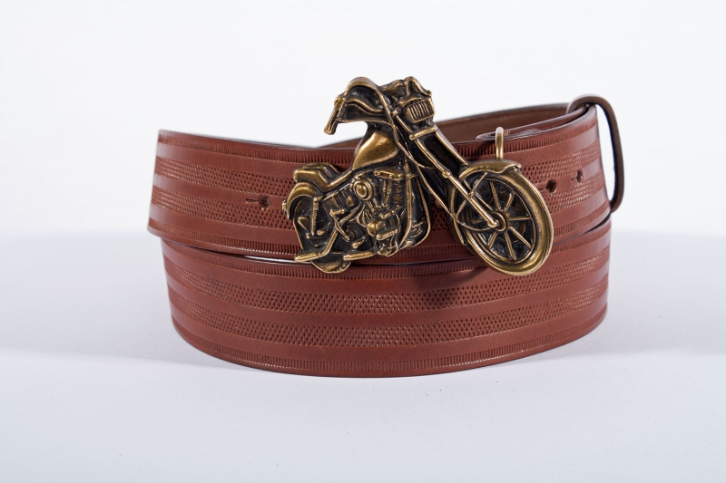 Kožené opasky - Pásek kožený moto řádek