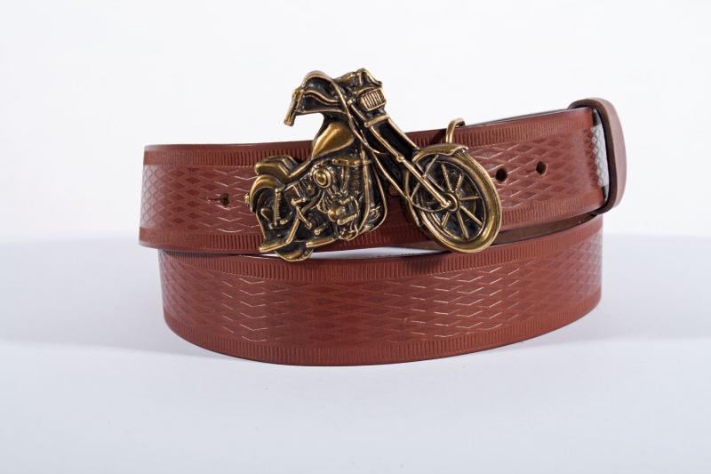Kožené opasky - Pásek kožený moto vroubek
