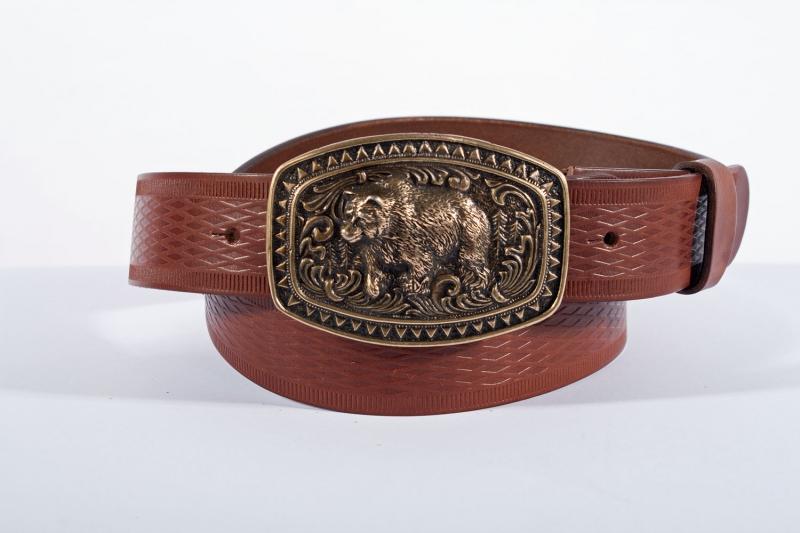 Kožené opasky - Pásek medvěd vroubek