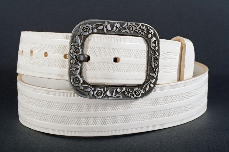 Kožené opasky - Bílý pásek 1469 pr.