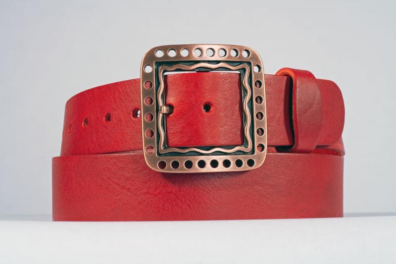 Kožené opasky - Červený opasek 1474