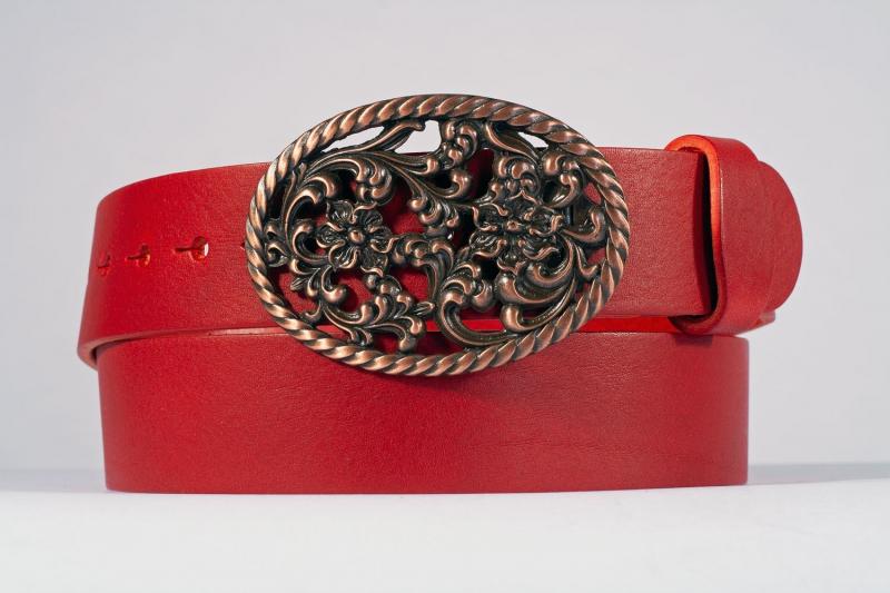 Kožené opasky - Červený opasek růže