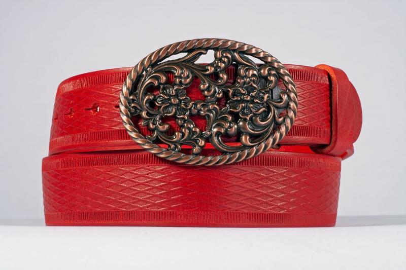 Kožené opasky - Červený opasek růže vroubek
