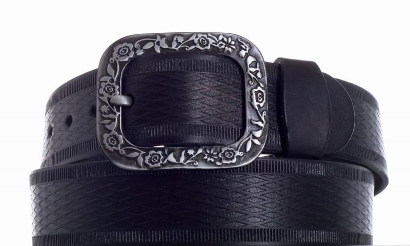 Kožené opasky - Pásek kožený černý 1469 vroubek