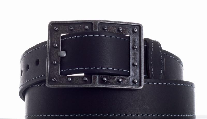 Kožené opasky - Černý kožený pásek 1473 obšitý