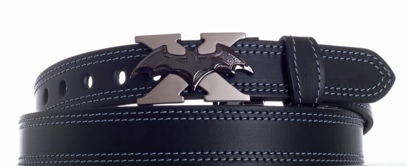 Kožené opasky - Černý kožený pásek Batman 2x šedě obšitý