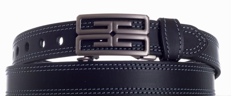 Kožené opasky - Černý kožený pásek I 2x šedě obšitý