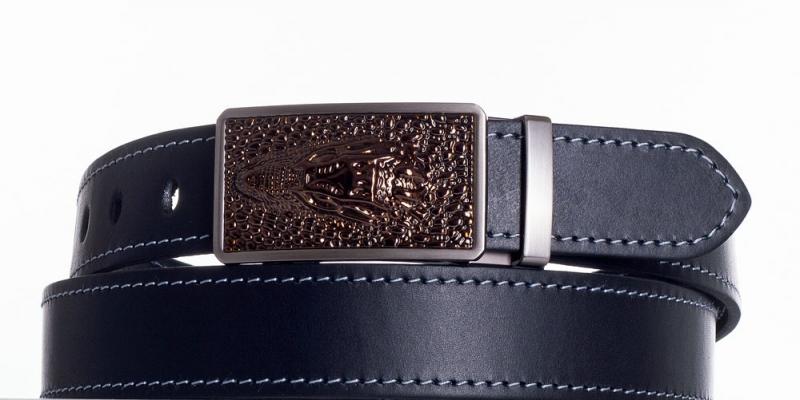 Kožené opasky - Černý společenský opasek Krokodýl šedě obšitý