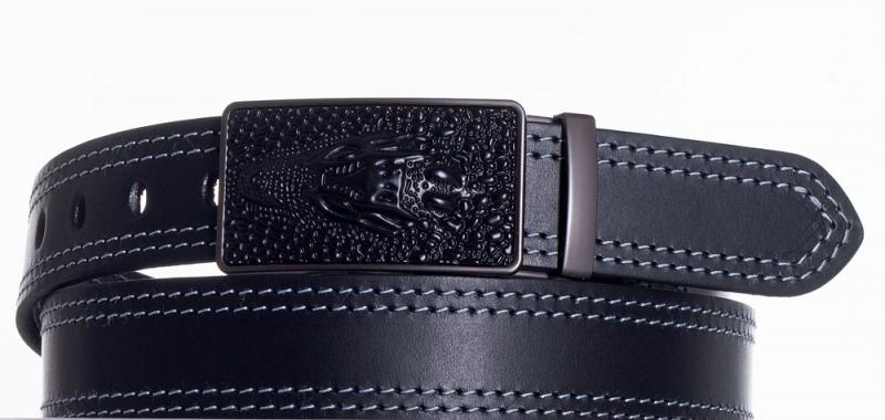 Kožené opasky - Kožený společenský opasek Krokodýl 2x šedě obšitý