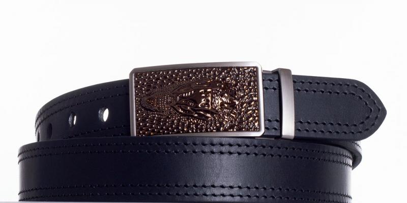 Kožené opasky - Černý společenský opasek Krokodýl 2x černě obšitý