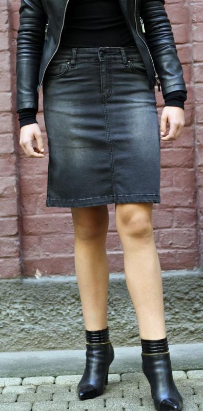 Dámské džíny - Džínová sukně černo-šedá
