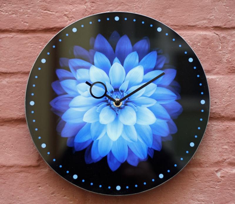 """Nástěnné designové hodiny - Nástěnné hodiny """"Modrá květina"""" pr.30"""