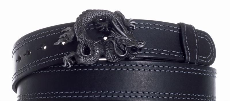 Kožené opasky - Opasek kožený černý Drak 2x šedě obšitý