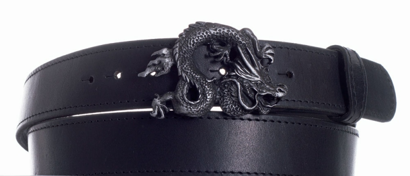Kožené opasky - Opasek kožený černý Drak černě obšitý
