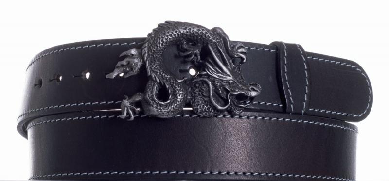 Kožené opasky - Opasek kožený černý Drak šedě obšitý
