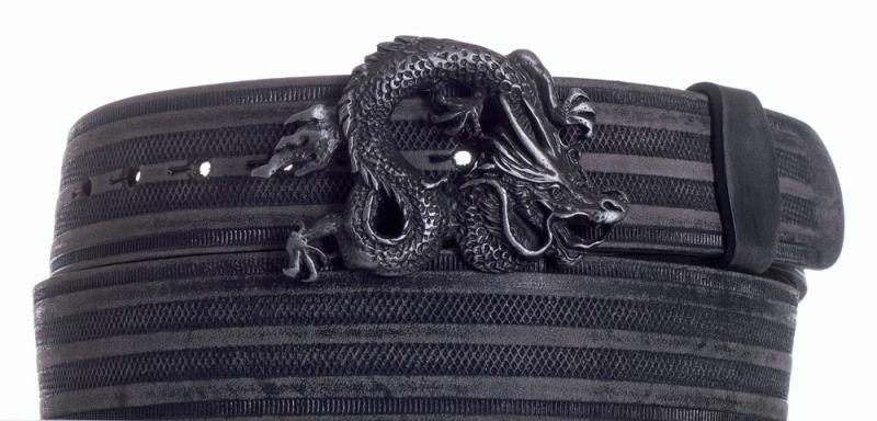 Kožené opasky - Opasek kožený černý Drak proužek broušený