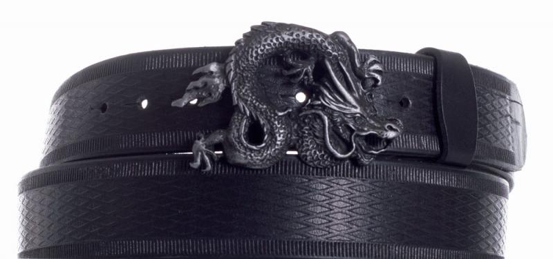 Kožené opasky - Opasek kožený černý Drak vroubek