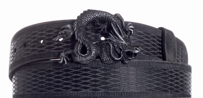 Kožené opasky - Opasek kožený černý Drak vroubek broušený
