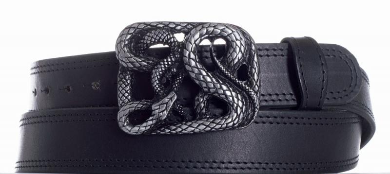 Kožené opasky - Kožený černý pásek Had 2x černě obšitý