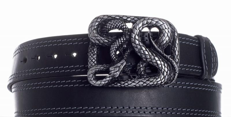 Kožené opasky - Kožený černý pásek Had 2x šedě obšitý