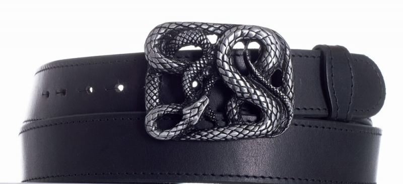 Kožené opasky - Kožený černý pásek Had černě obšitý