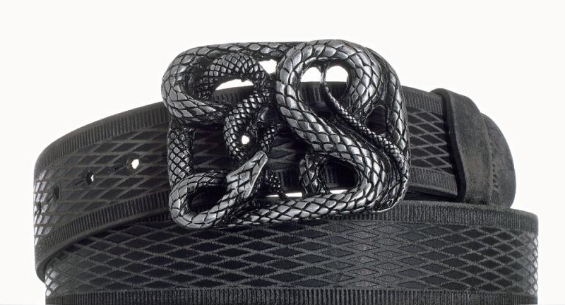 Kožené opasky - Kožený černý pásek Had vroubek broušený