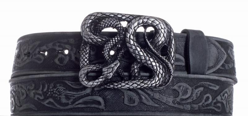 Kožené opasky - Kožený černý pásek Had vzor broušený