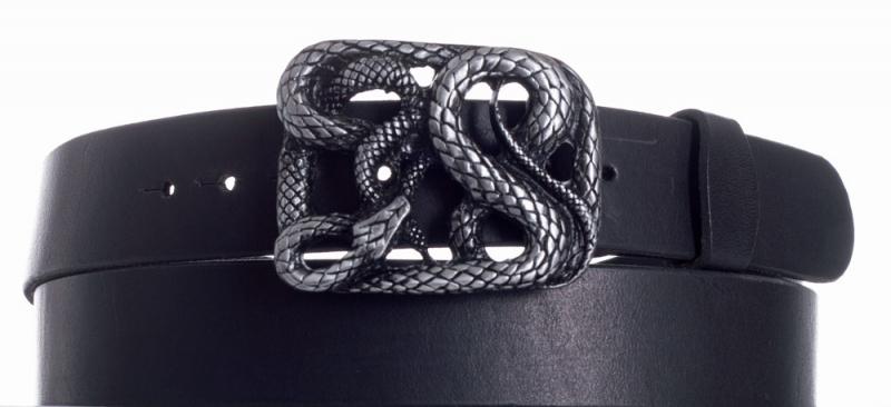 Kožené opasky - Kožený černý pásek Had