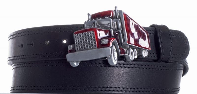 Kožené opasky - Pásek kožený černý Kamion černě obšitý