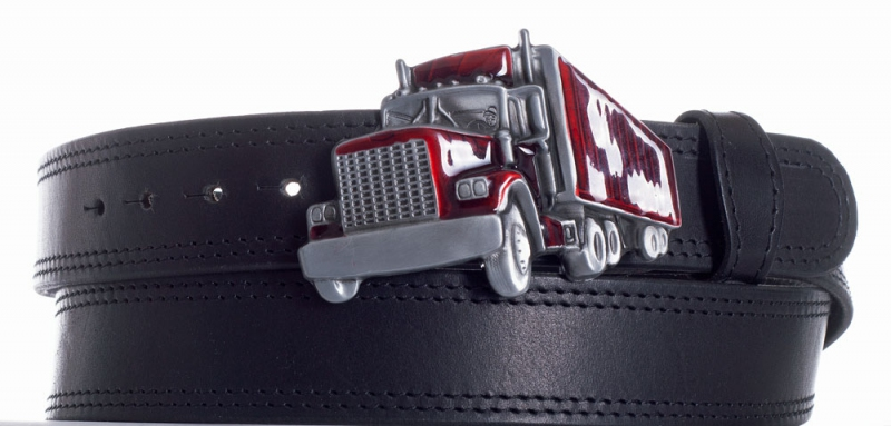 Kožené opasky - Pásek kožený černý Kamion 2x černě obšitý