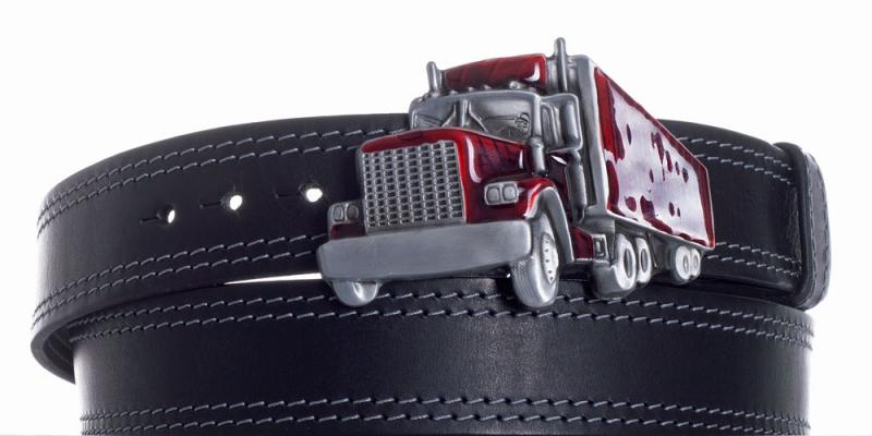 Kožené opasky - Pásek kožený černý Kamion 2x šedě obšitý