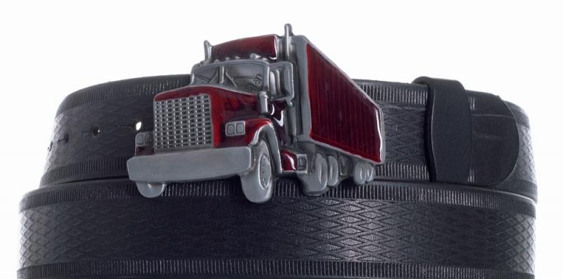 Kožené opasky - Pásek kožený černý Kamion vroubek