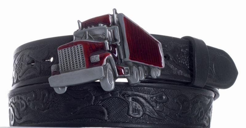Kožené opasky - Pásek kožený černý Kamion vzor