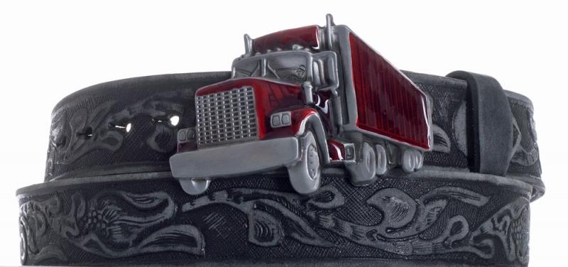 Kožené opasky - Pásek kožený černý Kamion vzor broušený