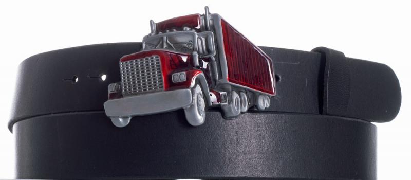 Kožené opasky - Pásek kožený černý Kamion